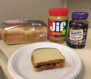 Peanut Butter and Jelly Sandwich with ingredients